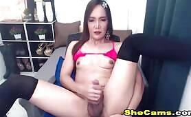 Amateur Sexy Shemale Jerks her Cock Wildly